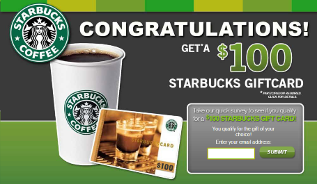Free $100 starbucks gift card